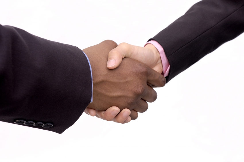 Interns shaking hands